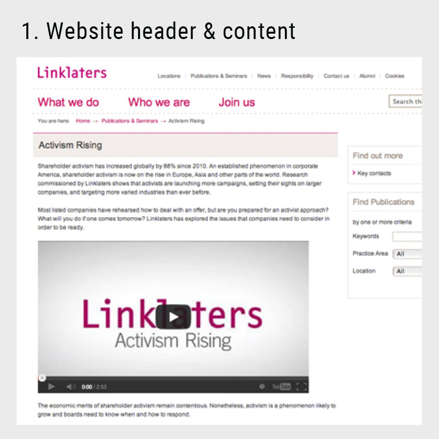 animation for the linklaters website
